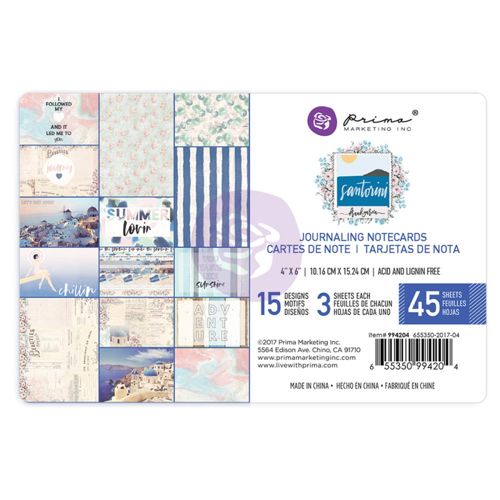 "New Prima Journaling Cards - 45 sheets - 4x6""- Santorini - 994204"