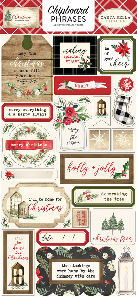 New Carta Bella Paper Co Chipboard Phrases Stickers - Christmas - cbch89022