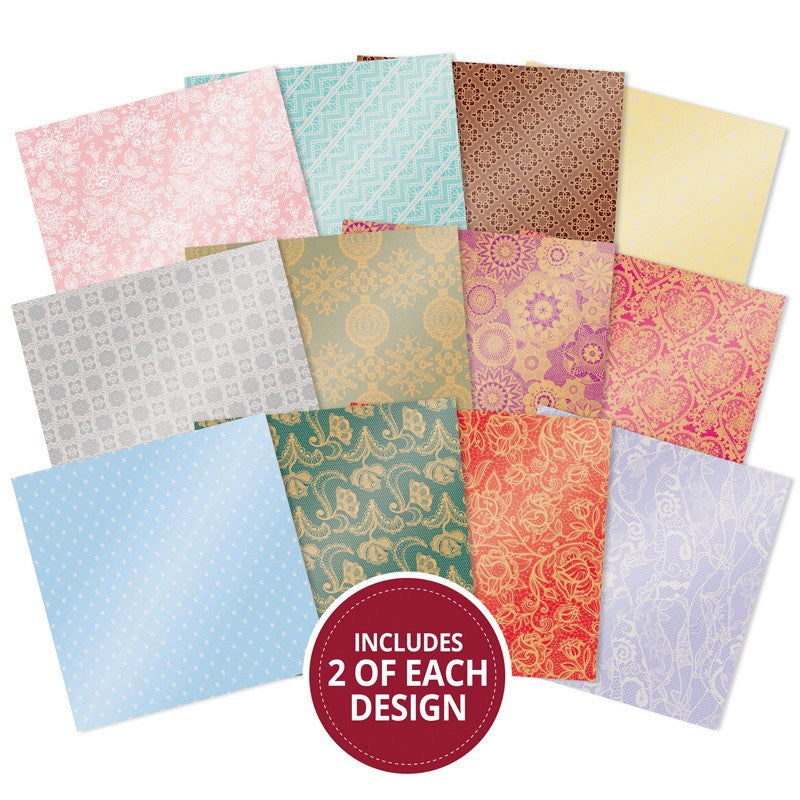 "Hunkydory Mirri paper Pads 8x8"" 24 pack Marvelous - Lovely Lace - MPAD014"