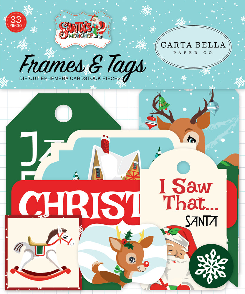 New Carta Bella Paper Co Frames and Tags - Christmas - Santa's Workshop -cbsw900