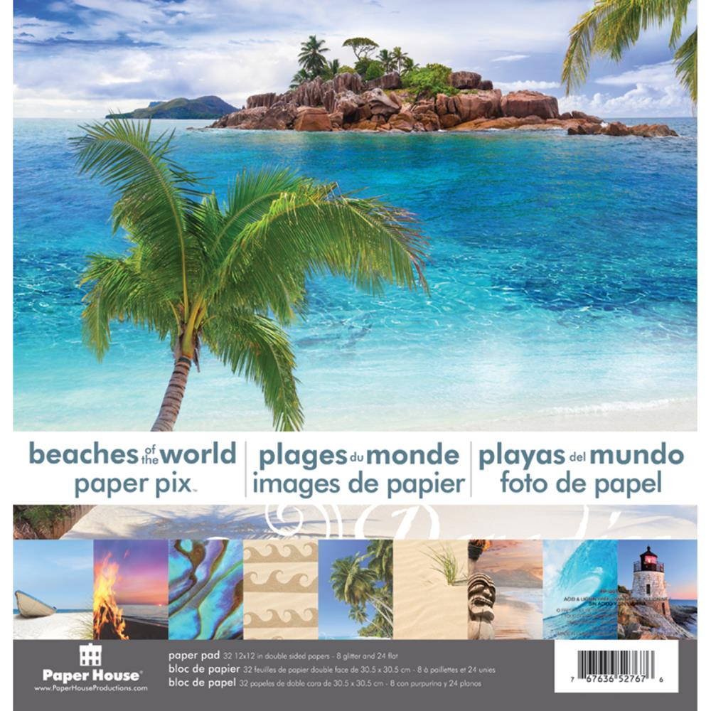 "Paper House Paper Pad 12x12"" 24 double sided papers - Beaches of the World  pp-0"
