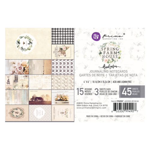 "New Prima Journaling Cards - 45 sheets - 4x6""- Spring Farmhouse 994907"