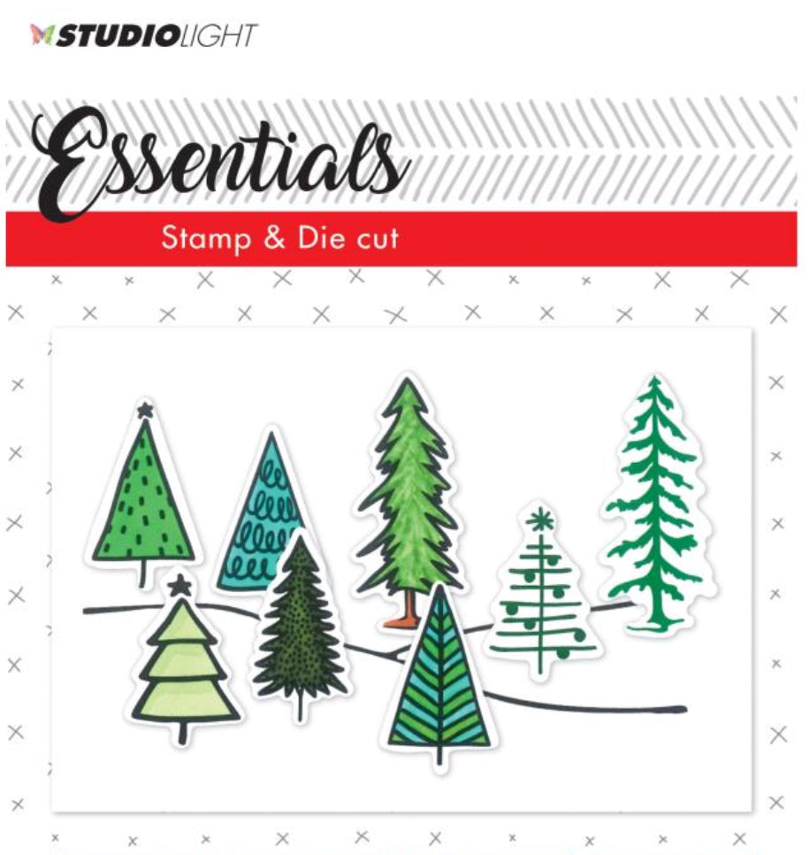 Essentials Studio Light Clear Stamp and Die set  - Trees - basicsdc19