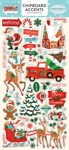New Carta Bella Paper Co Chipboard Phrases Stickers - Santas Workshop- cbsw90021