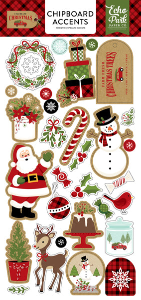 New Echo Park Travelers Notebook Chipboard Stickers - Celebrate Christmas - Cch1