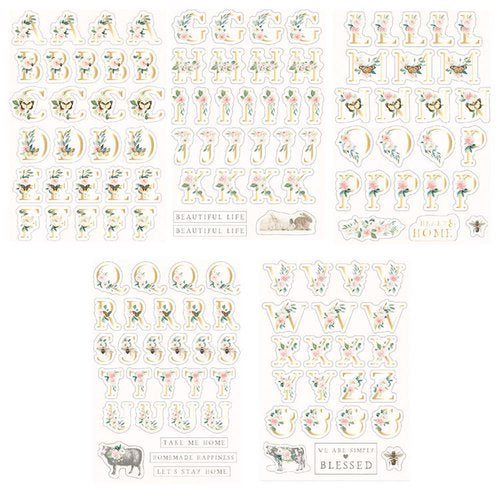 New Prima Spring Farm House Alphabet foiled Stickers 5 sheets 994921
