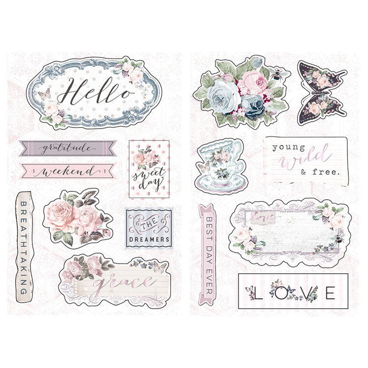 New Prima chipboard Stickers - Prima - Poetic Rose 631918