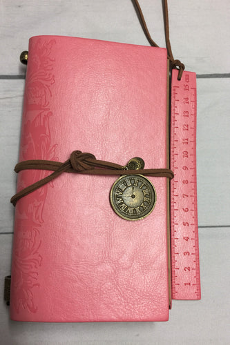 Personal Size Embossed Vintage Leather Travelers Notebook with charm and bookmark