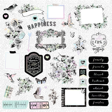 New Prima Silver foiled Ephemera 38pieces -Flirty Fleur - 597610