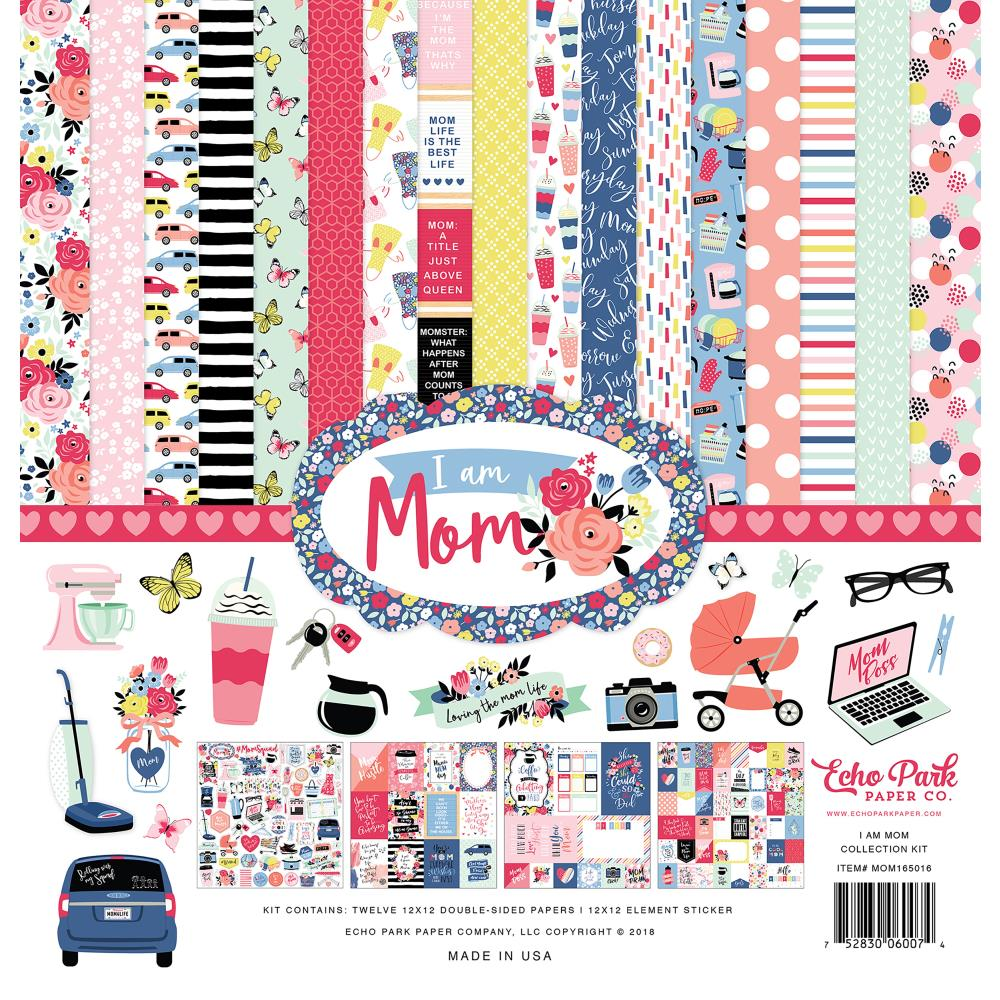 New Echo Park Paper Co I am Mom 12 x 12 Paper Collection Kit - mom165016