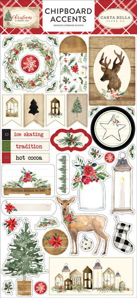 New Echo Park Chipboard Accent Stickers - Christmas - cbch89021