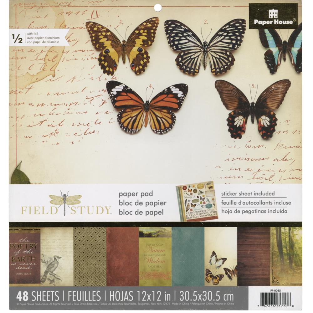 "Paper House Paper Pad 12x12"" 48 single sided papers with gold foil - Field Study"