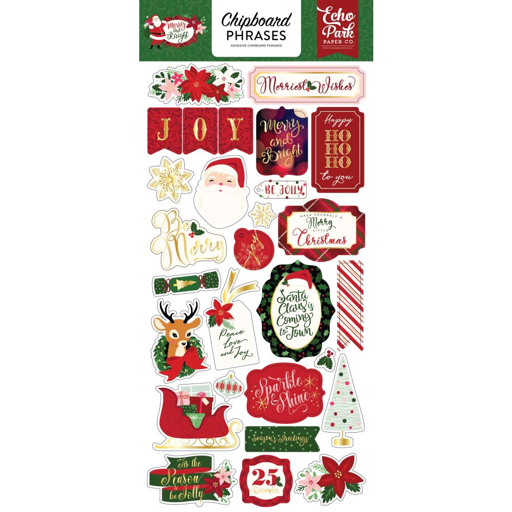 New Echo Park Chipboard Accent Stickers - Christmas - Merry and Bright -  mb1600