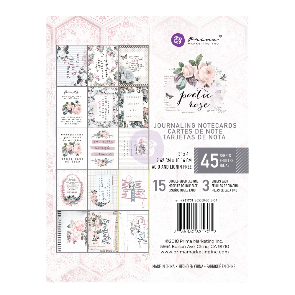 "New Prima Journaling Cards - 45 sheets - 3x4"" - Poetic Rose 631703"