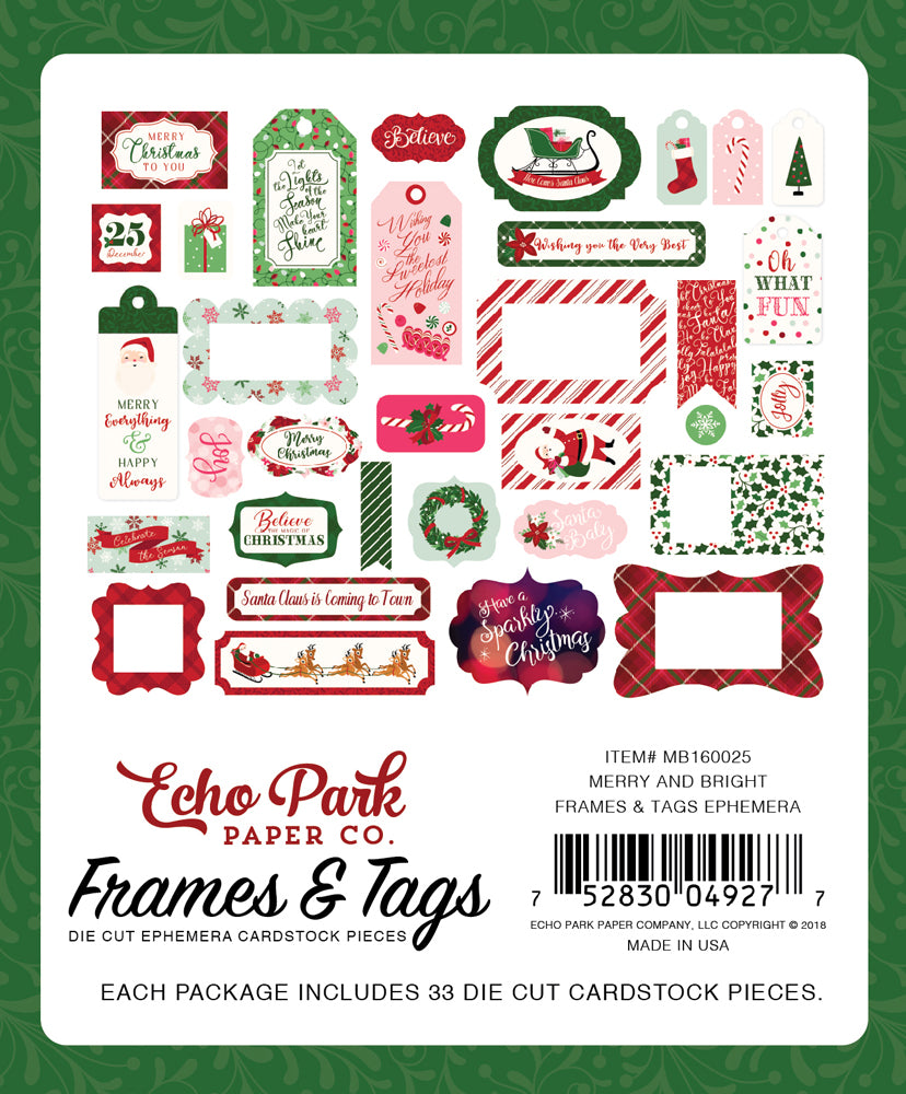 New Echo Park Travelers Notebook Frames and Tags - Christmas - Merry and Bright