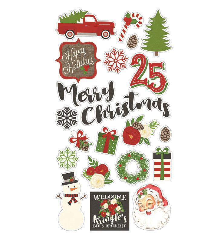 Simple Stories December Daily Very Merry 21 chipboard Stickers - 9257