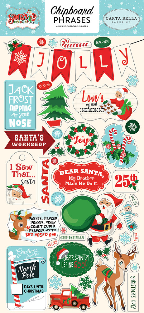 New Carta Bella Paper Co Chipboard Phrases Stickers - Santas Worksop - cbsw90022