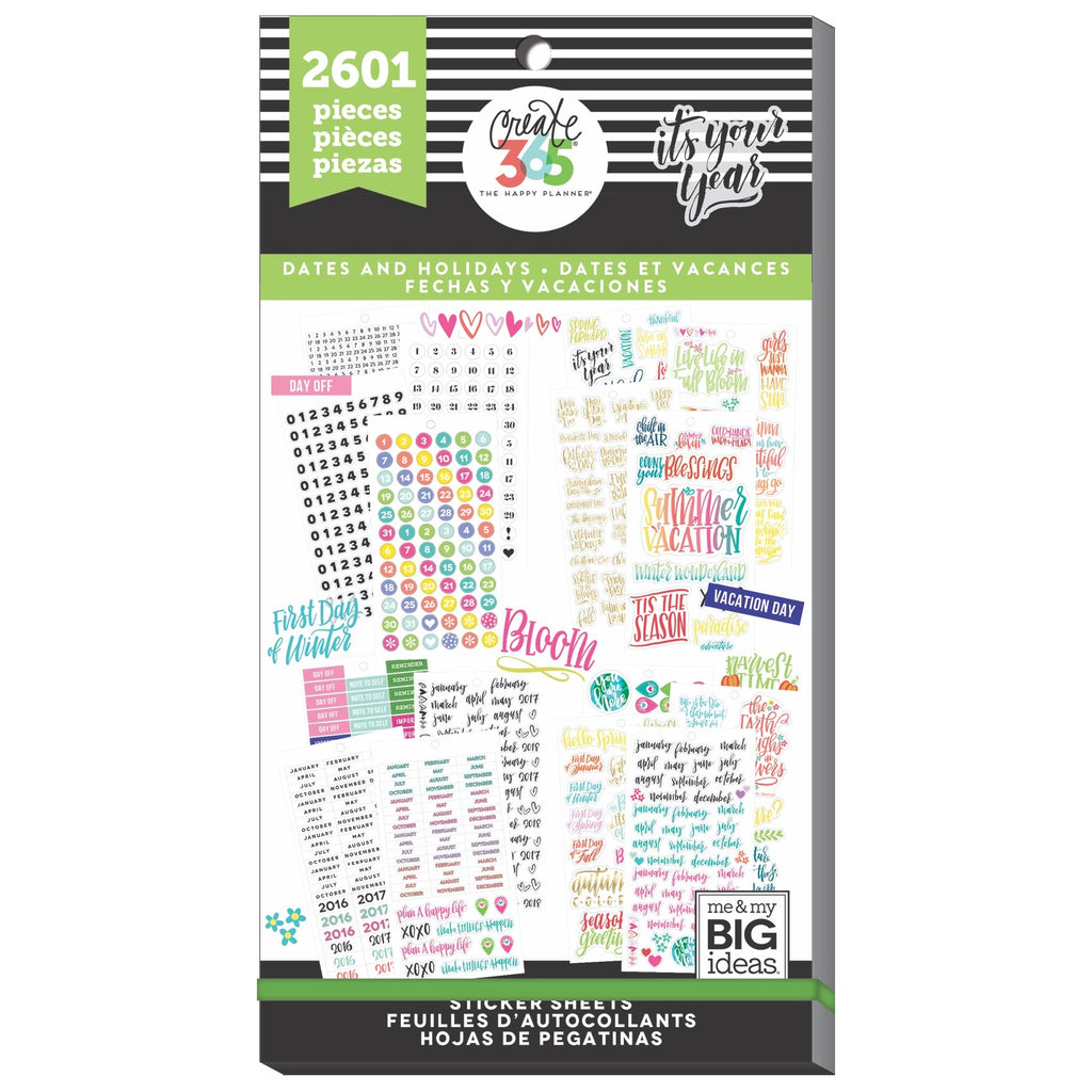 NEW - Dates And Holidays - 2601 Pieces - Me and My Big Ideas Create 365 Happy Pl