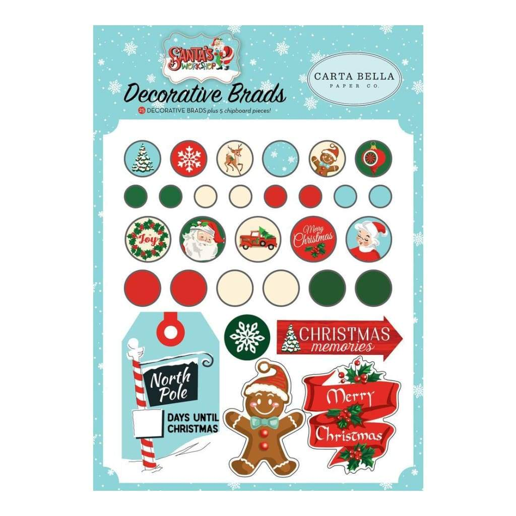New Carta Bella Paper Co Decorative Brads - Christmas - Santa's Workshop -cbsw90