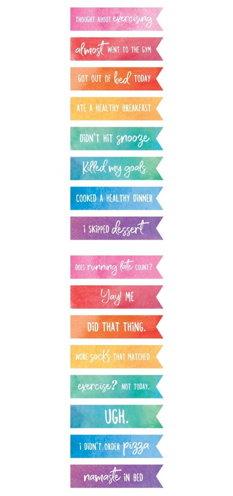 New Paper House Life Organised Stickers Colourwashed Phrases sTT0003e