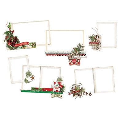 New Simple Stories  -Vintage Christmas Layered Frames 6pc- 10350