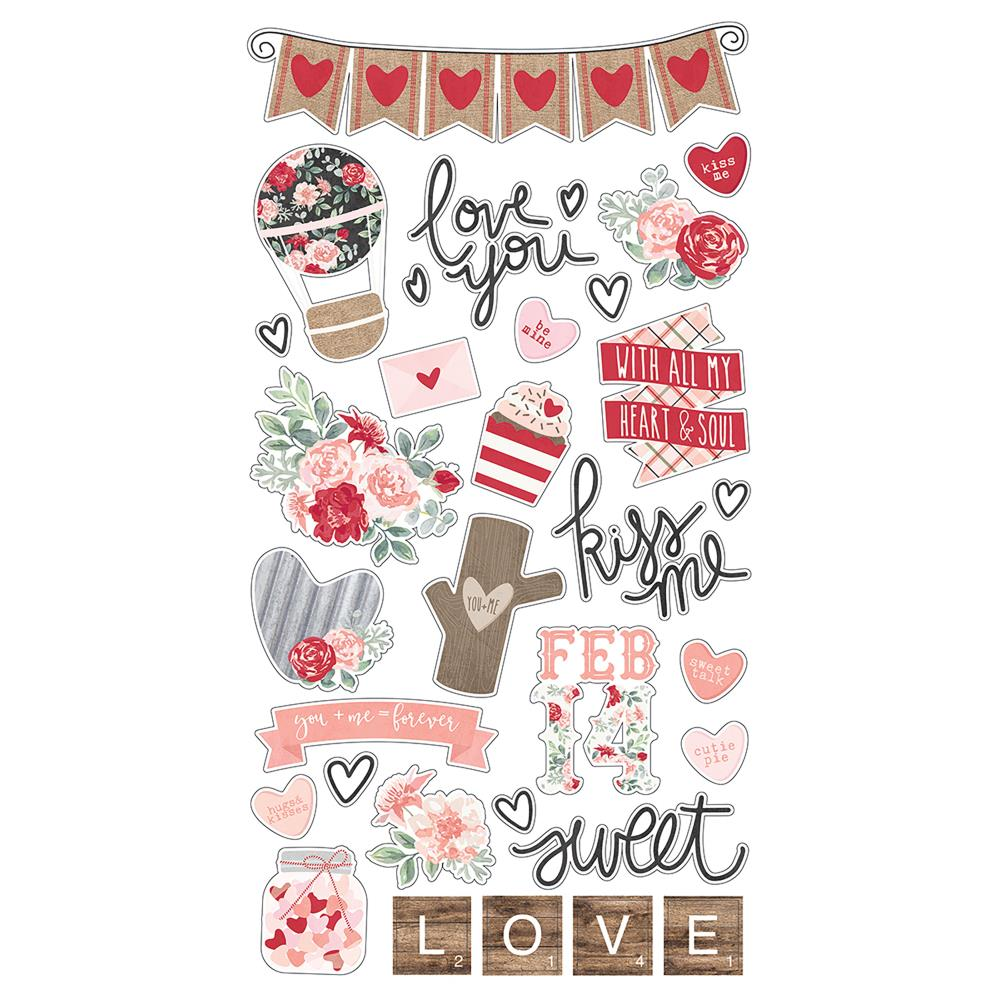 NEW Simple Stories Chipboard 32 Stickers - Kissing Booth - 10391