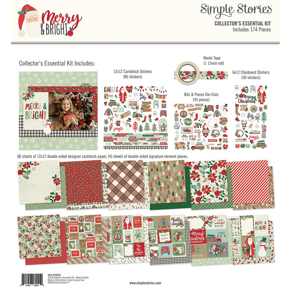 New Simple Stories Christmas Collectors Essential Kit - Merry and Bright - 10330