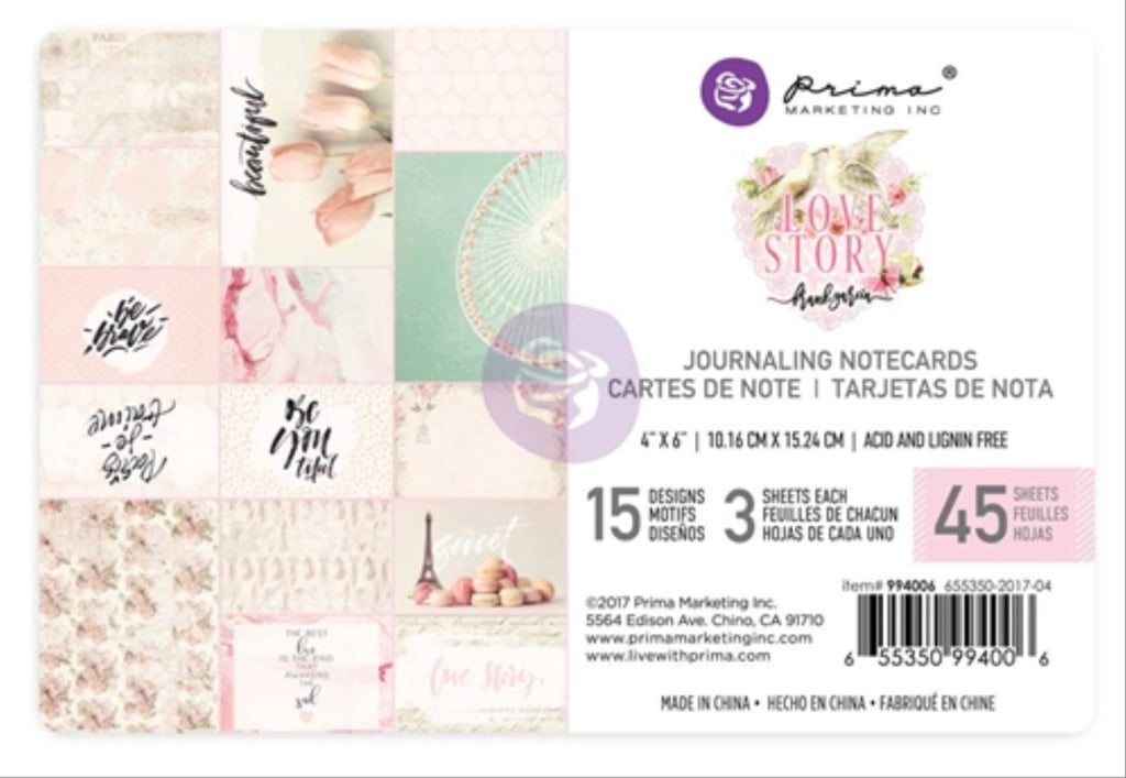 "New Prima Journaling Cards - 45 sheets - 4x6""- Love Story - 994006"
