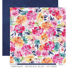 "Happiness Collection - New Cover Page for your Travelers Notebook Insert or 12 x 12"" sheet Scrapbook Paper - Botanical Bliss - CV-HA001"