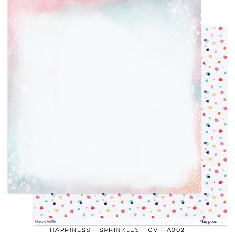 "Happiness Collection - New Cover Page for your Travelers Notebook Insert or 12 x 12"" sheet Scrapbook Paper - Sprinkles - CV-HA002"