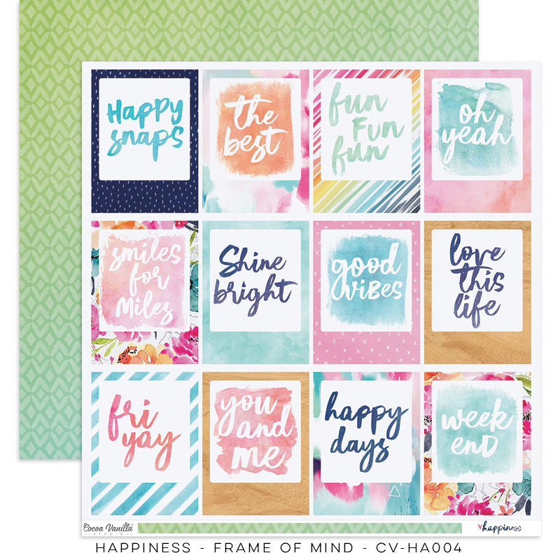 "Happiness Collection - New Cover Page for your Travelers Notebook Insert or 12 x 12"" sheet Scrapbook Paper - Frame of Mind - CV-HA004"