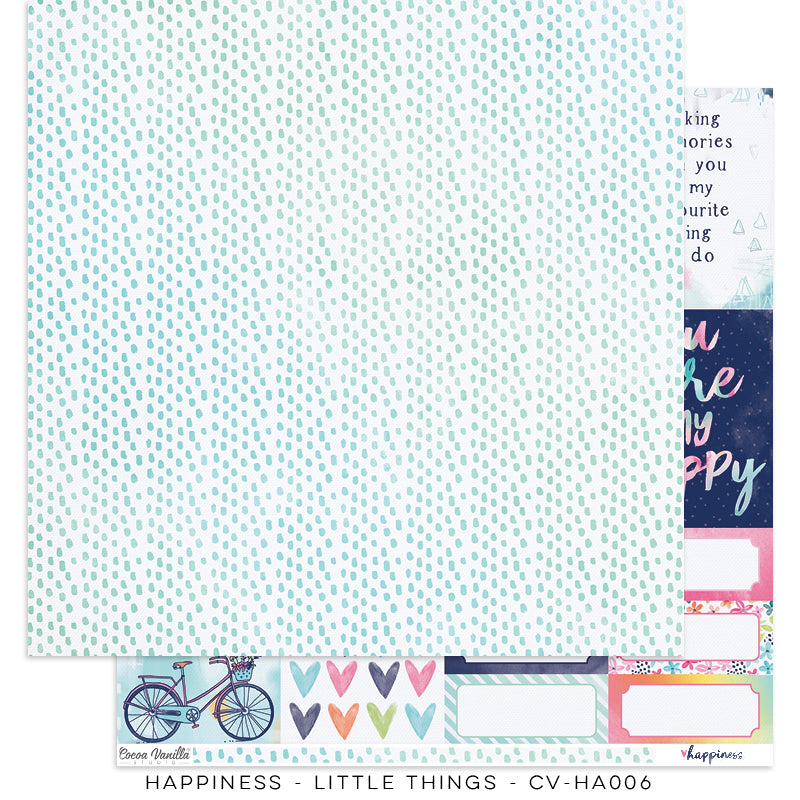"Happiness Collection - New Cover Page for your Travelers Notebook Insert or 12 x 12"" sheet Scrapbook Paper - Little Things - CV-HA006"