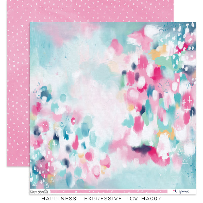 "Happiness Collection - New Cover Page for your Travelers Notebook Insert or 12 x 12"" sheet Scrapbook Paper - Expressive- CV-HA007"