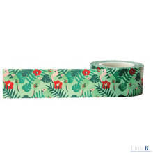 Little B green birds and floralwide washi tape - 100659