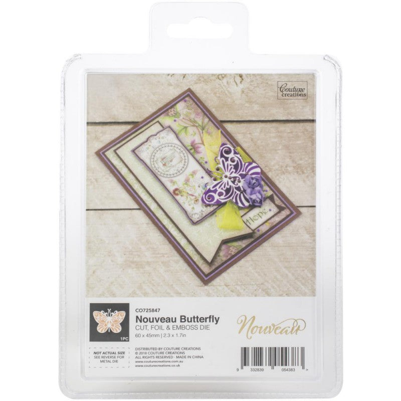 Couture Creations Hot Foil Die Set - Cut Foil and Emboss - Nouveau Butterfly- CO