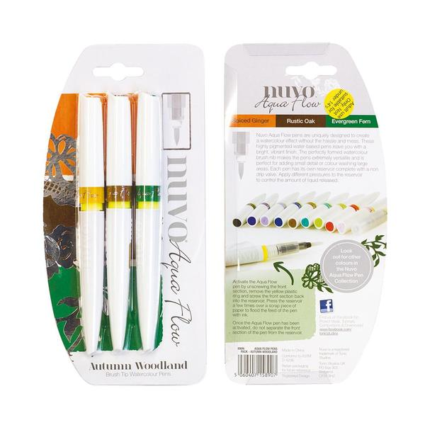 Nuvo - Tonic Studio - Aqua Flow watercolour Brush Pens  - Autumn Woodland - 890N