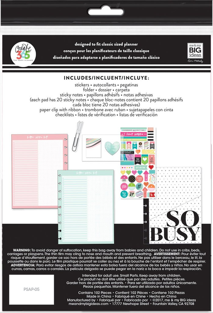 Me and My Big Ideas Classic Happy Planner Happy Life Accessory Pack. PS