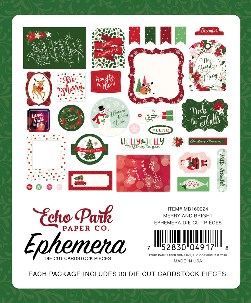 New Echo Park Travelers Notebook Ephemera - Christmas - Merry and Bright - MB160