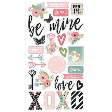 NEW Simple Stories Romance Chipboard Stickers - 9414