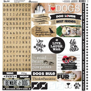 Reminisce - Love my Dog - 12x12 sticker sheet - lmd-100