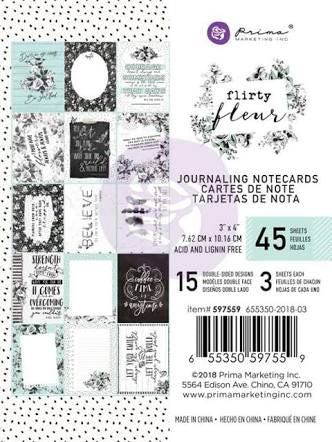 "New Prima Journaling Cards - 45 sheets - 3x4"" - Flirty Fleur - 597559"