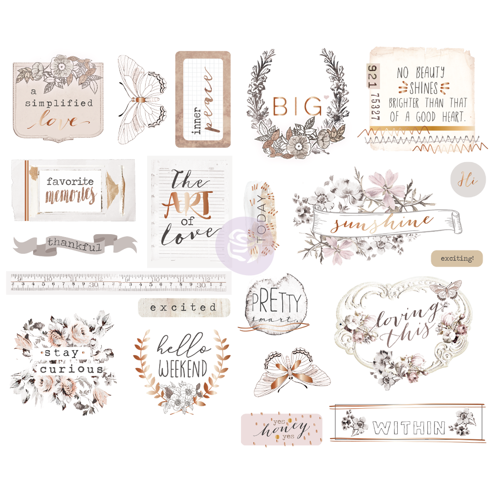 New Prima chipboard Stickers - Prima - Pretty Pale 631901