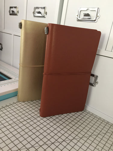 Personal Size No 4 Travelers Notebook with free planner charm Gold or Brown