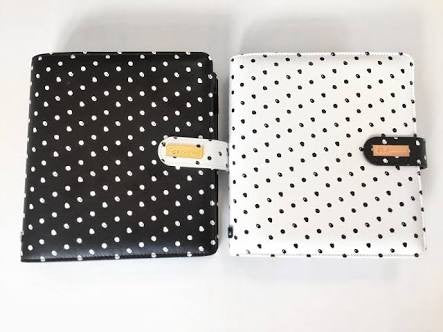 Prima Marketing A5 Ring bound Planner black with white Dots - Undated