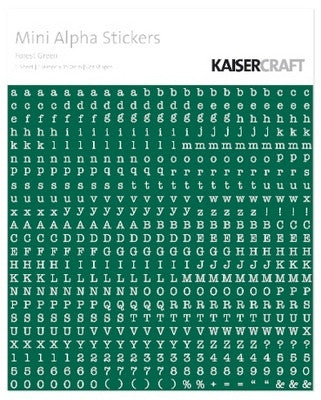 Kaisercraft Alphabet Sticker Sheet - Forest Green - MA507