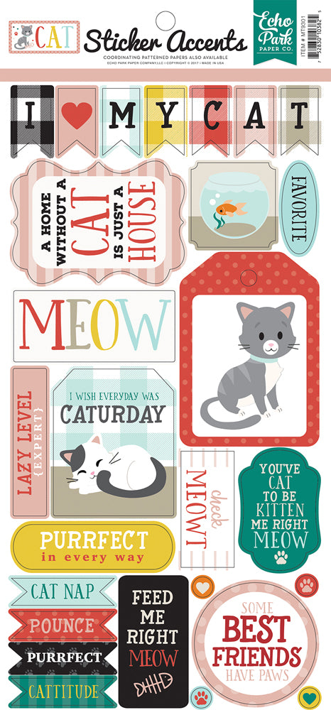 Echo Park Cat Sticker Sheet - mt9301 Cats