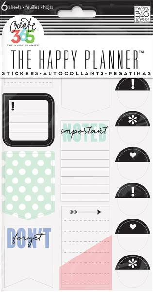 Me and My Big Ideas Create 365 Happy Planner Stickers 6 sheets - Dont Forget - P