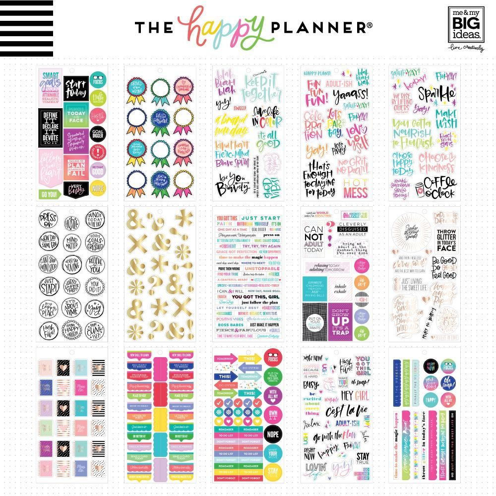 605 pieces- NEW Me and My Big Ideas Create 365 Happy Planner Sticker Book - Gold