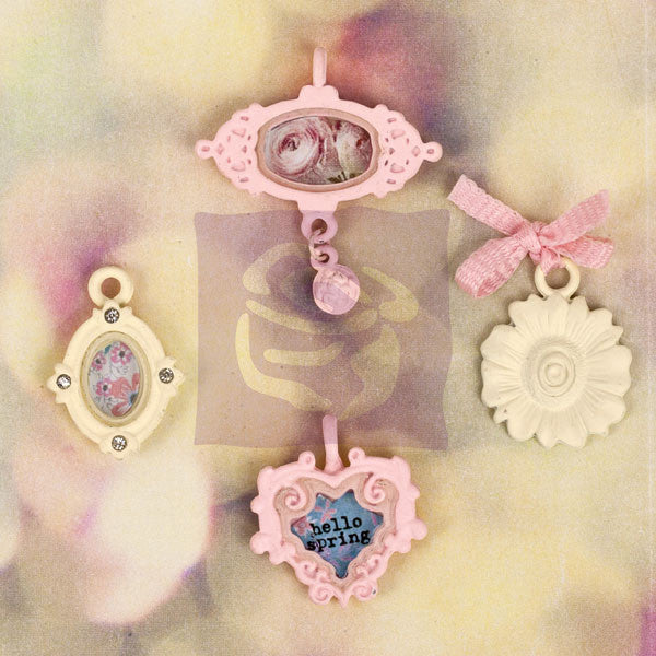 My Prima Planner charms Hello Pastel Metal Trinket set of 4