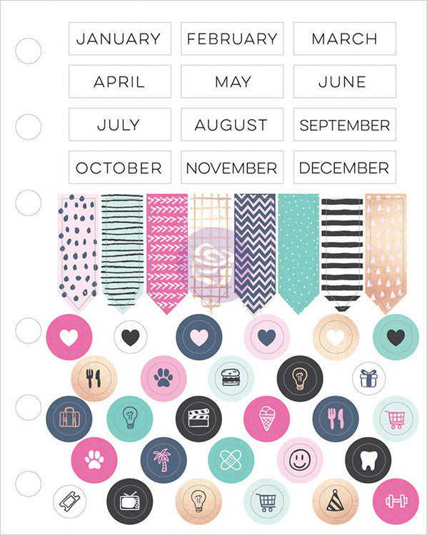 My Prima Planner Cardstock Stickers 96pieces month banners